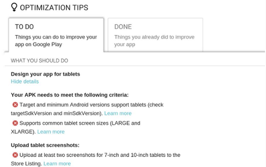 Google tablet optimization tip