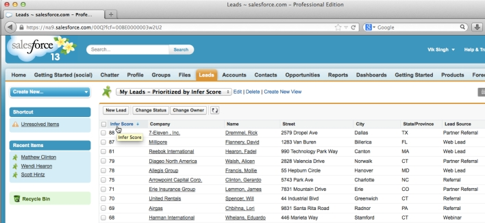 Infer data integrated in Salesforce.com