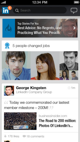 new linkedin mobile re-design