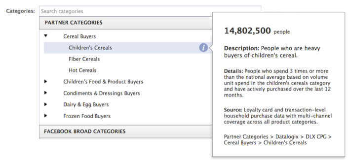 Facebook partner categories ad targeting