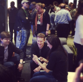 Mark Zuckerberg checks out one of the new phones with the Facebook Home at Menlo Park headquarters.