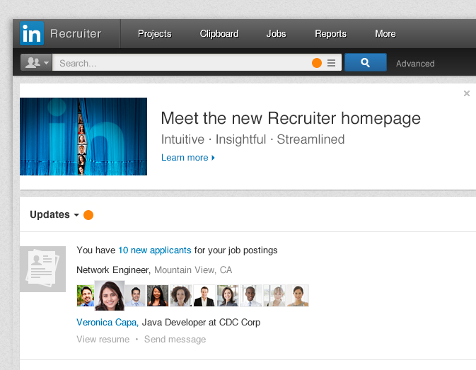 LinkedIn Recruiter page update