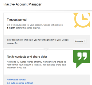 Screenshot of Inactive Account google
