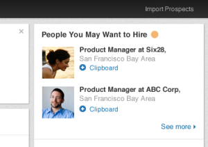LinkedIn people you might want to hire recommendation tool
