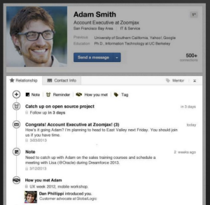 new LinkedIn Contacts integration page