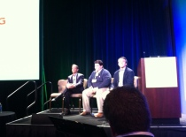 Shirish Sathaye, left, Paul Santinelli and Alex Benik at Open Networking Summit 2013