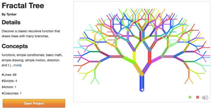 Tynker fractal tree