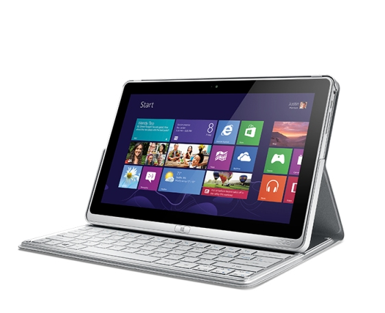 Acer Aspire P3 ultrabook with keyboard left angle