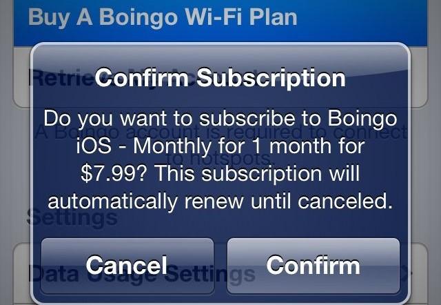 Boingo in-app purchase