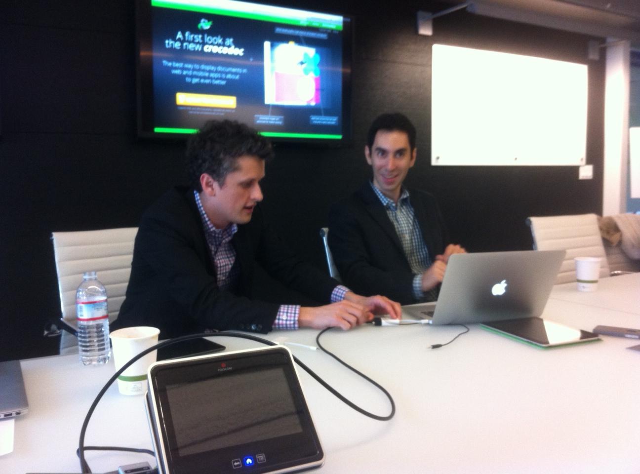 Box CEO Aaron Levie, left, and Crocodoc CEO Ryan Damico at Box