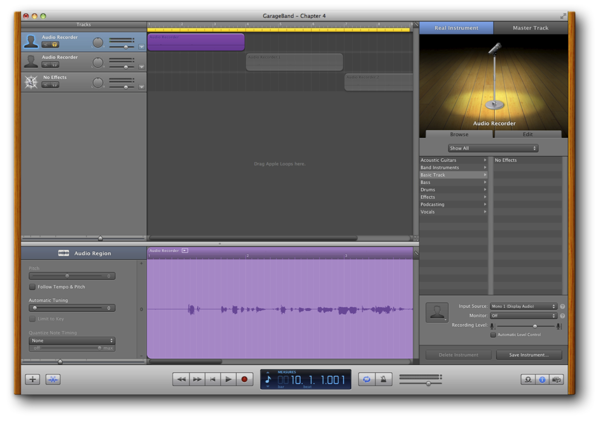 Edit Recorded Chapters in GarageBand