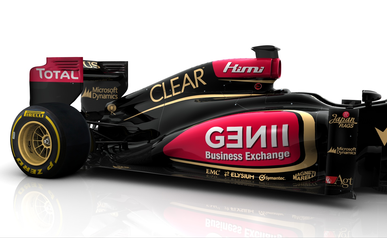 The upcoming Lotus F-1 car will look like this -- complete with EMC, Microsoft and Symantec decals.
