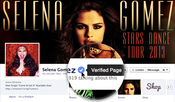 facebook verified selena gomez