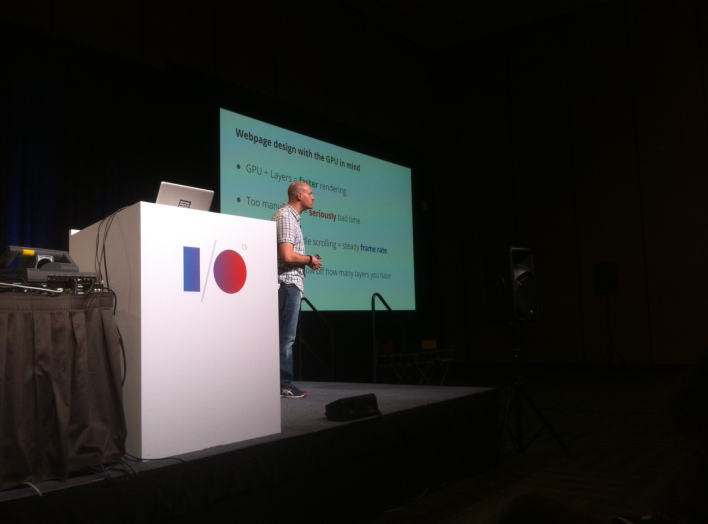 Colt McAnlis, a developer advocate working on Chrome games and performance, at Google I/O 2013 in San Francisco on May 16.