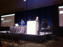 Sunil James, left, and John Cormie talk about new routing capabilities on Google Compute Engine at the Google I/O conference on May 17, 2013