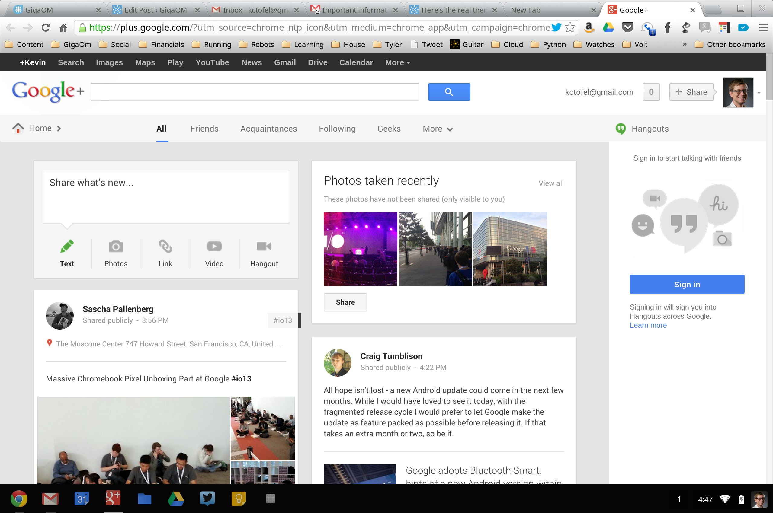 Google Plus layout