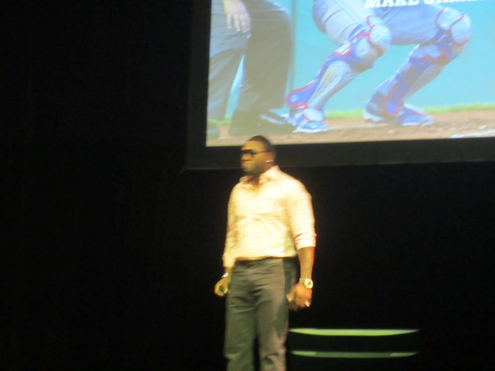 A (very fuzzy) David Ortiz at TechStars Demo Day.
