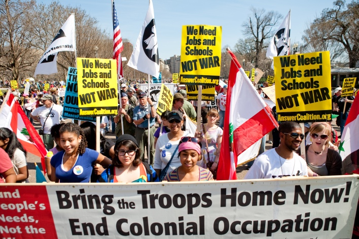 On 7th Anniversary Of Iraq War, Anti-War Protesters March In Washington DC