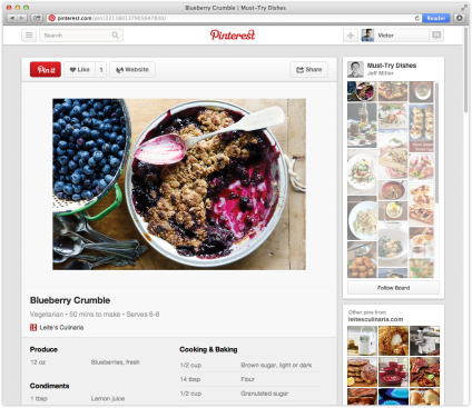 Pinterest recipe page pin product food