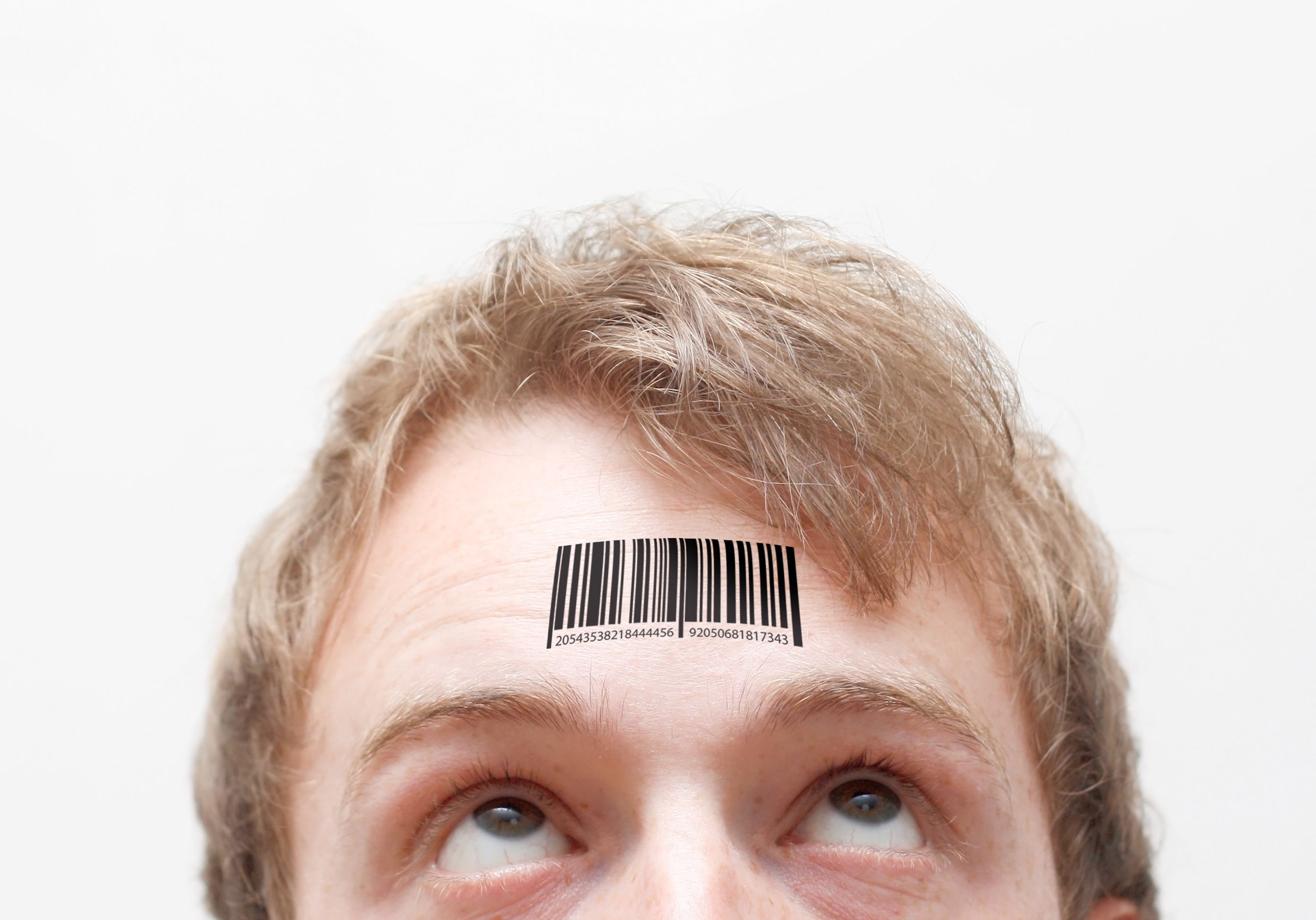 Person with bar code on forehead