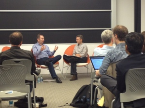 Andy Jassy and Michael Skok chat at the Harvard iLab.