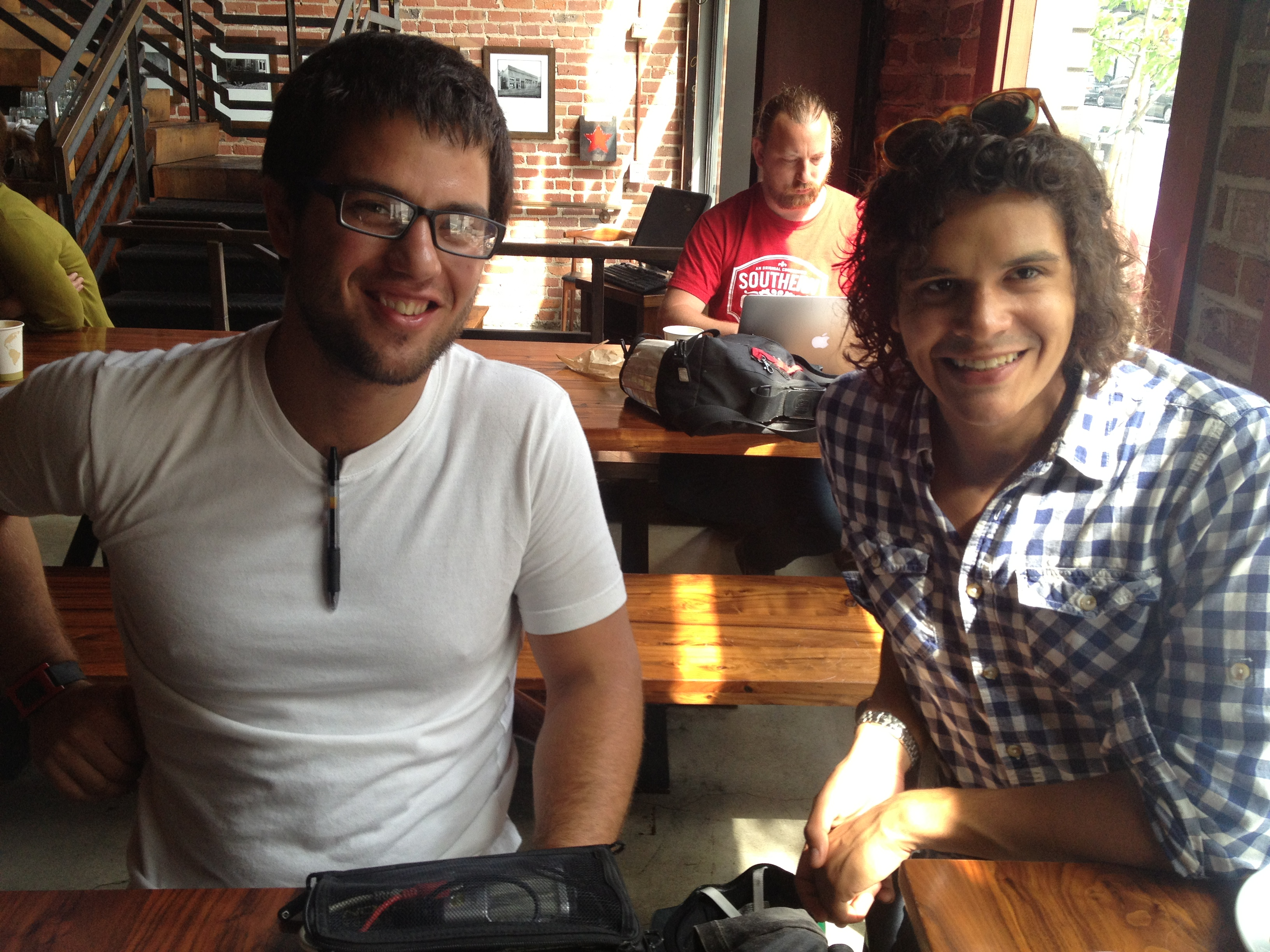 Re:char CTO Luke Iseman (L) and founder/CEO Jason Aramburu (R) showing off an early prototype of SoilIQ
