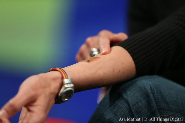 "Regina Dugan of Motorola shows off an ""electronic tattoo"" at D11. Credit: Asa Mathat/D: All Things Digital"
