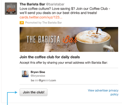 Screenshot of Twitter Lead Gen card