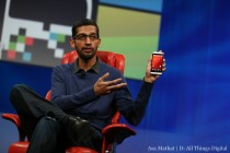 "Google's Sundar Pichai shows off the ""Google experience"" version of the HTC One at D11 Credit:Asa Mathat/D: All Things Digital"