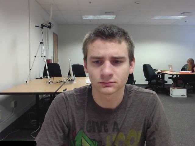 A camera watches a student's face as he completes and online tutoring session.
