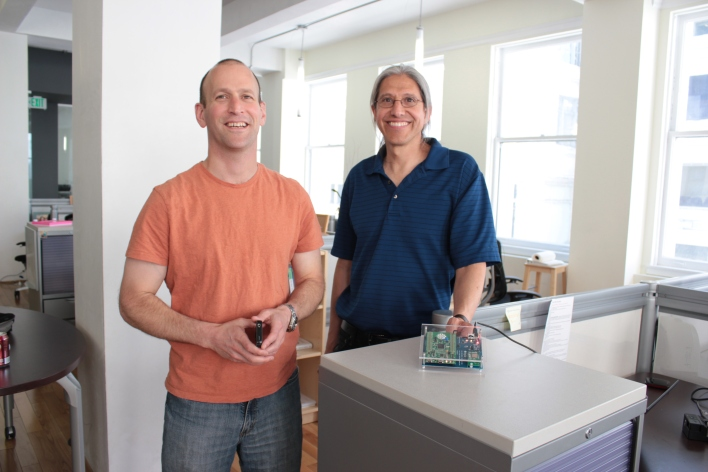 Ayla co-founders David Friendman (left) and Adrian Caceres with an Ayla demo kit.