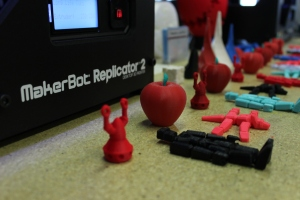 The newest model, the Replicator 2X, costs $2,800 and, according to Pettis, is easier to assemble than earlier models.
