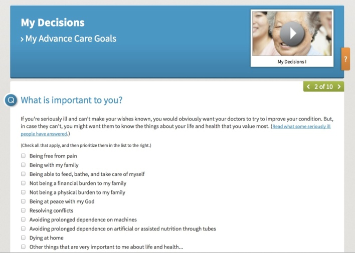 A planning tool on MyDirectives prompts patients to indicate their preferences and values related to end-of-life care.