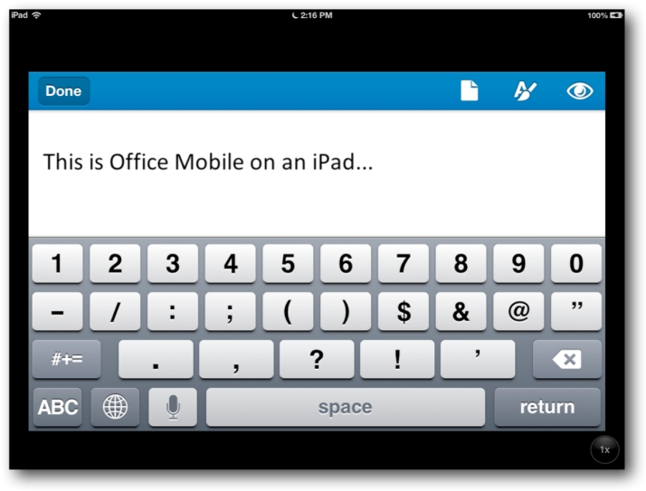 Office Mobile on iPad