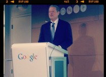 A picture of Al Gore speaking at Google earlier this year.