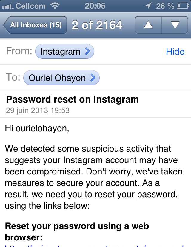 Instagram password reset