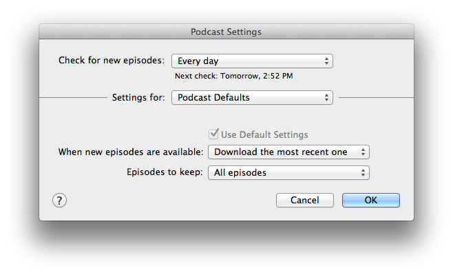 Podcast and iTunesU Subscriptions