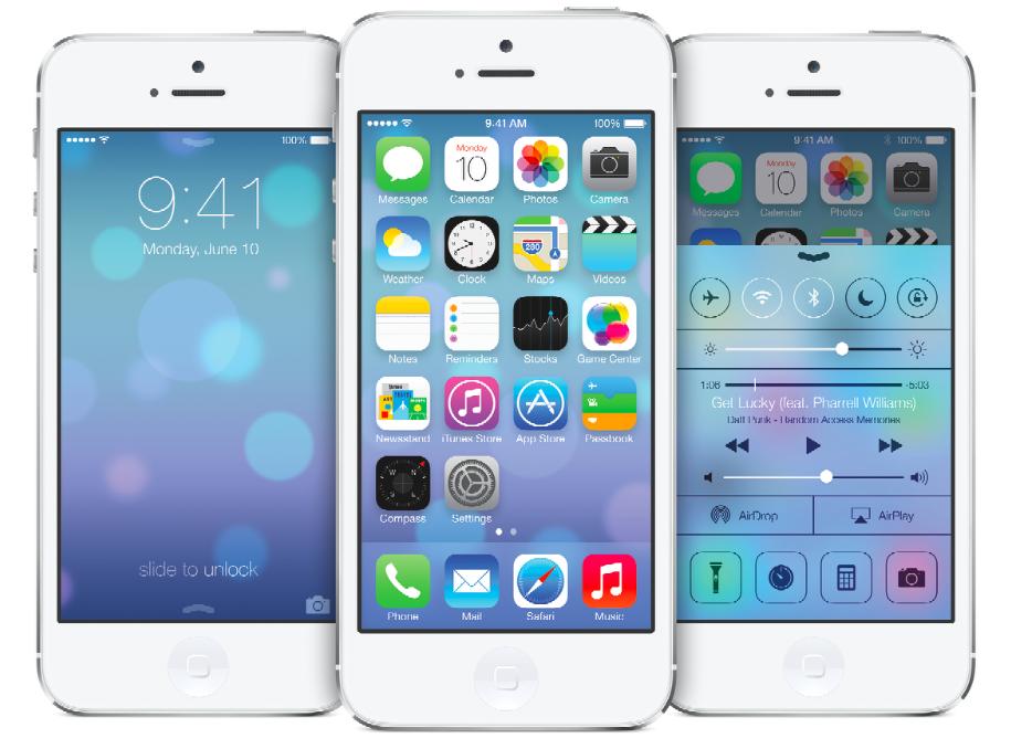 iPhone iOS 7 unveil homepage redesign flat design