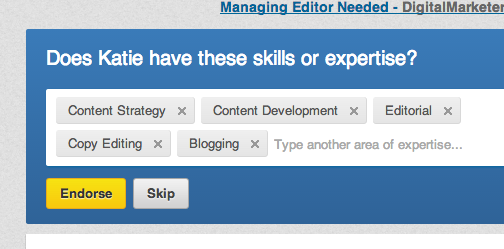 LinkedIn endorsement feature box