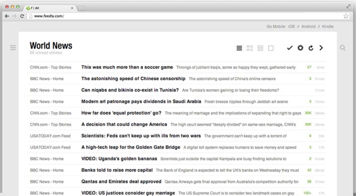 Feedly desktop screenshot image RSS reader google replacement
