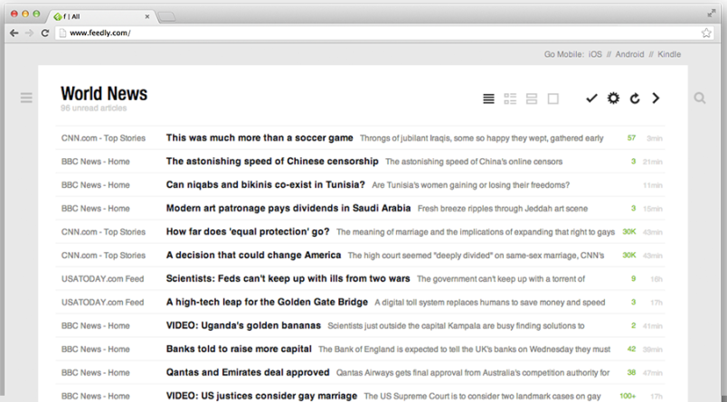 Feedly desktop screenshot image RSS reader google replacement