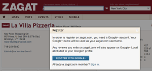 Zagat, Google+ screenshot