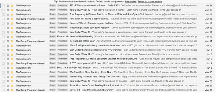 A month's worth of emails from TheBump.com