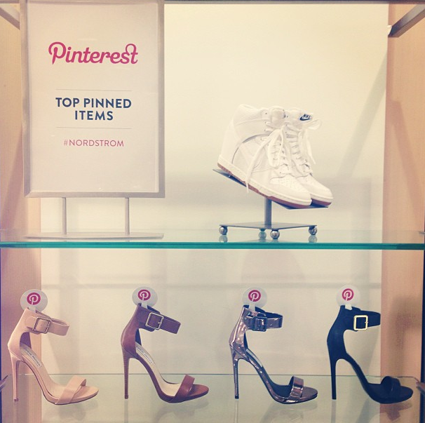 Shoes for sale in Nordstrom, highlighted by which are the most popular on Pinterest right now.