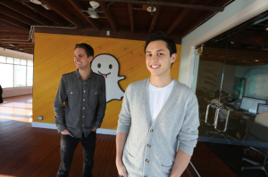 Evan Spiegel (left) and Bobby Murphy, the co-founders of the Snapchat app, at the company's offices.