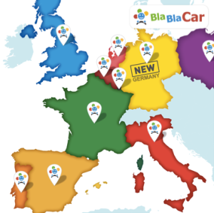 BlaBlaCar's expanding network. Image courtesy of BlaBlaCar.