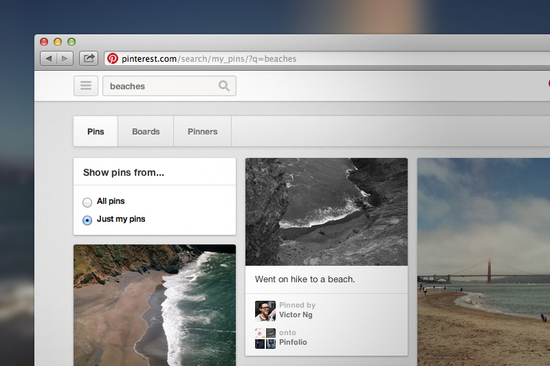 search your own pins pinterest search feature
