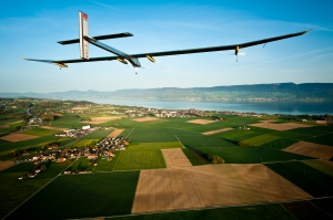 Solar Impulse plane over Switzerland