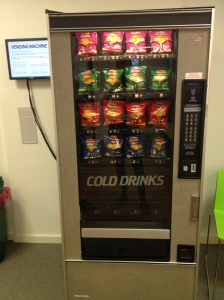 A vending machine that only disperses its contents when the economy is bad, in the ODI offices.