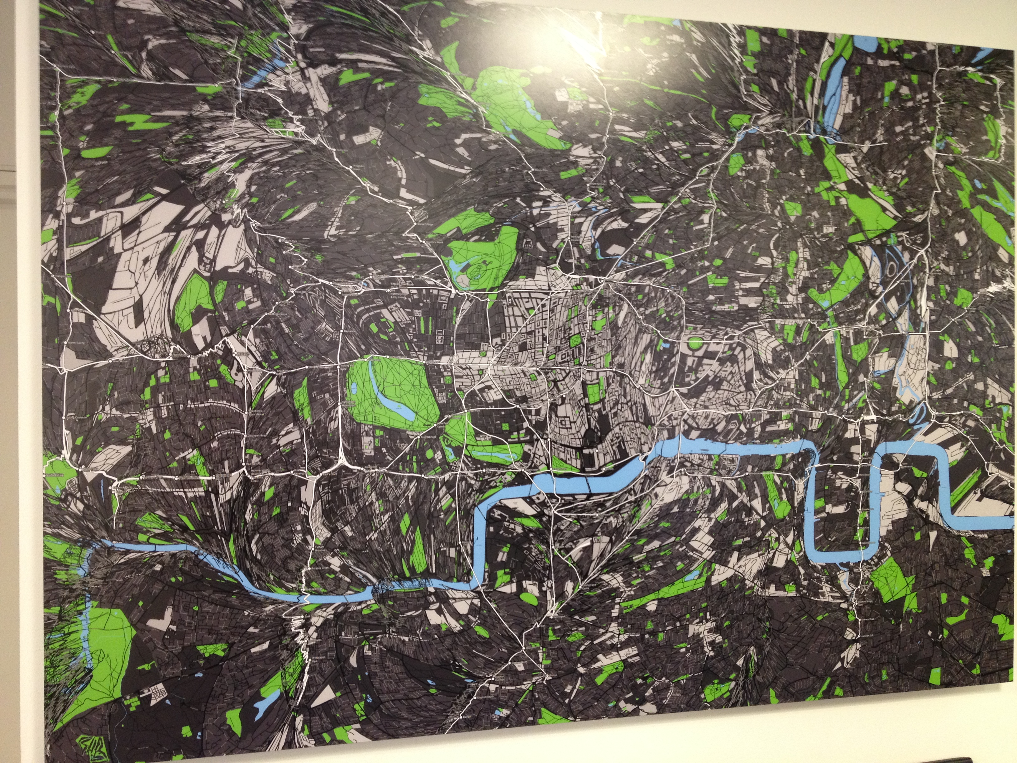 A map of London morphed by the tube line in the ODI office.